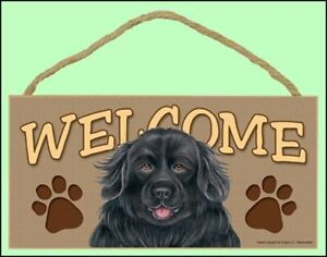 "Newfoundland 10"" x 5"" Wooden Welcome Dog Sign New Made in the USA!"