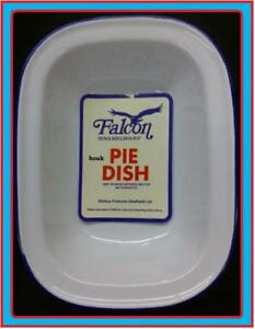 24cm-FALCON-STEAK-ASHET-PIE-BAKING-BAKE-OVEN-DISH-TIN-ENAMEL-OBLONG-BLUE-WHITE