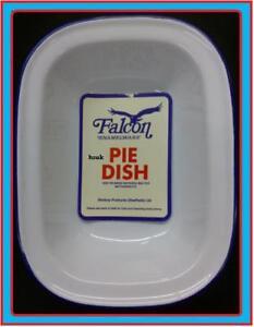 24cm-FALCON-STEAK-ASHET-PIE-BAKING-BAKE-OVEN-DISH-TIN-ENAMEL-OBLONG-BLUE-WHITE