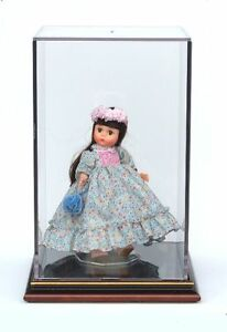 Doll-Display-Case-with-Wood-Base-13-High-Economy-Version
