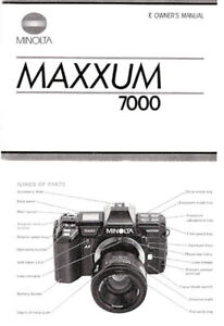 Minolta Maxxum 7000 Instruction Manual