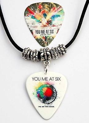 You Me At Six Two Sided Guitar Pick Leather Necklace
