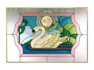 20x14-Stained-Art-Glass-SWAN-Moon-Window-Suncatcher