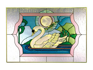 20x14 SWAN Moonlight Stained Art Glass Window Suncatcher