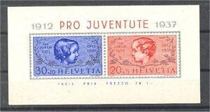 SWITZERLAND-PRO-JUVENTUTE-SHEETLET-1937-MNH