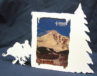 Snowmobile 3x5v White Metal Picture Frame