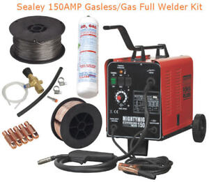SEALEY-150AMP-Gas-Gasless-Mig-Welder-FULL-KIT-With-CO2-Flux-Steel-Wire-5x-Tips