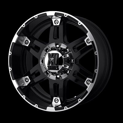 "17"" X 9"" KMC XD SERIES XD797 SPY GLOSS BLACK MACHINED WHEELS RIMS"