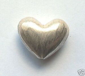 Bali Brushed Satin Sterling Silver Heart Bead