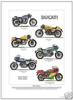CLASSIC DUCATI - Fine Art Print - 350 450 Desmo 750 900 Super Sport Hailwood Rep