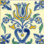 Mediterranean Spanish Ceramic Tiles - Tulip design 4x4""