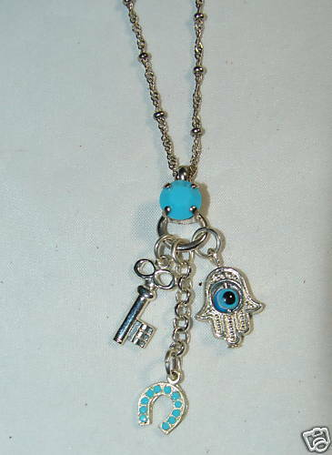Hadar Michal Silver Charm Necklace Key Hamsa horsehoe