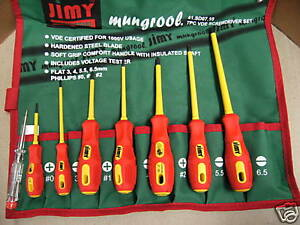 ELECTRICIANS 7 PC SCREWDRIVER SET--VDE 1000 VOLT in HEAVY CANVAS ROLL BRAND NEW