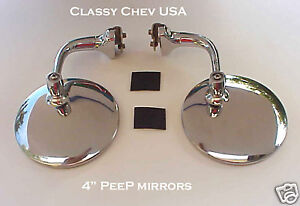 NEW-PAIR-4-034-PEEP-mirrors-Stainless-NEW-37-38-39-Chevy-Ford-door-edge-Hot-Rod