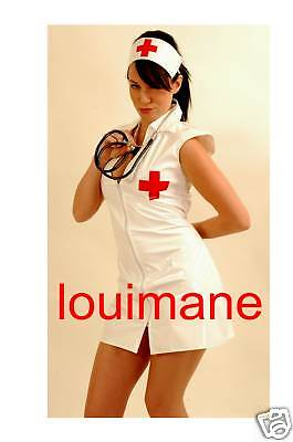 WHITE NURSE*LOUIMANE*Naughty & Sexy,PVC UNIFORM COSTUME DRESS OUTFIT sizes 8 -22