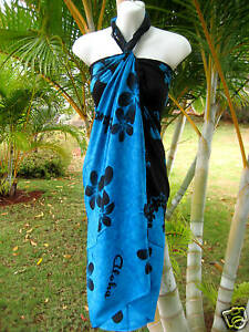 3df1b7621840 Hawaii Sarong Pareo Beach Pool Teal Blue/Blk Plumeria Hawaiian Luau ...