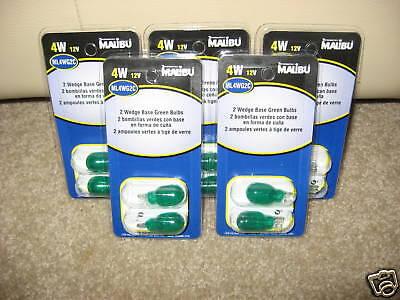 10 Malibu Path Light Wedge Base Bulbs Christmas Green Outdoor Lighting