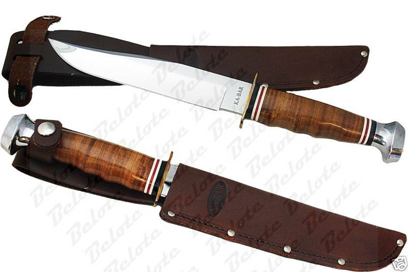 Ka-Bar KaBar Leather Handled Bowie Knife на eBay