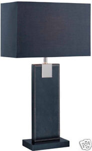 New Contemporary Modern Black Leather Wrapped Table Lamp with Black Fabric Shade