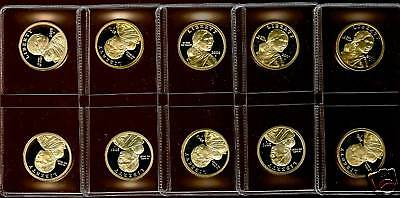 2000 2001 2008 2009 2010 S PROOF SACAGAWEA DOLLARS 11 COIN SET