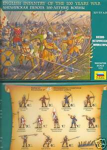 ZVEZDA 8060: ENGLISH INFANTRY - HUNDRED YEARS WAR. 1:72 SCALE MEDIEVAL WARRIORS
