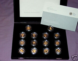 2008 ROYAL MINT GOLD SILHOUETTE £1 SILVER PROOF SET - 14 COINS