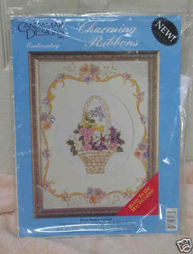 Embroidery - Candamar Charming Ribbons Floral Basket NEW