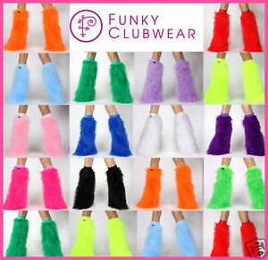 GOGO-DANCER-FLUFFIES-FLUFFY-LEGWARMERS-FURRY-BOOT-COVERS-FANCY-DRESS-COSTUME