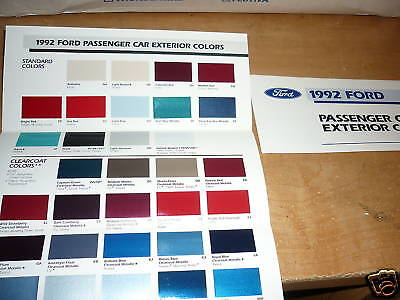 1992 Ford Mustang Probe Thunderbird Escort Vic Color Chips Chart Brochure