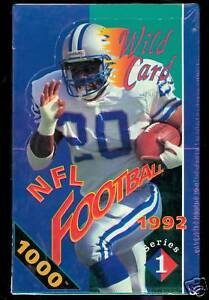 1992 Wild Card Football Set Wax Pack Box Series 1 ONE FACTORY SEALED Stripe