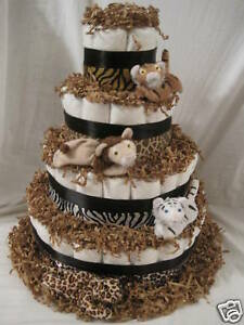 4 TIER ANIMAL PRINT WITH MATCHING STUFFED ANIMALS