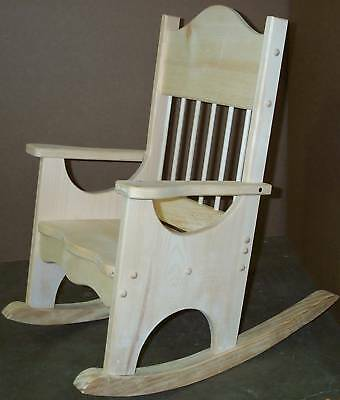 Childs-Facncy-Rocking-Chair-Unfinish-Pine-Wood-Rocker