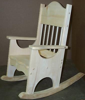 Childs-Facncy-Rocking-Chair-Unfinish-Pine-Wood-Rocker