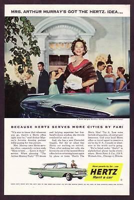 1958 Vintage Hertz Rental 1959 Chevrolet Impala Car Automobile Photo Print Ad