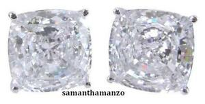 5ct Fancy Cushion Cut Signity CZ Cubic Zirconia Stud Jewelry Earrings