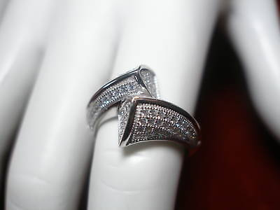 Sterling Silver Pave Cz By-pass Design Ring