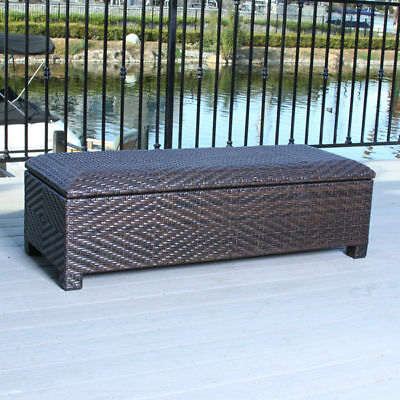 Outdoor Patio Furniture Brown Wicker Storage Ottoman Bench Ebay