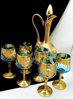 Venetian Art Glass Wine Decanter Set Unusal Blue Signed on Lookza