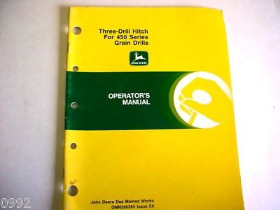 2 John Deere Three Drill Hitch 450 Grain Drills 355 Offset Disk Manuals