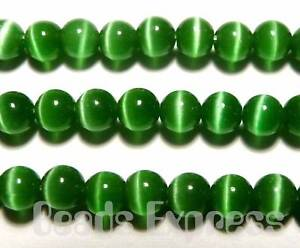 100p-Cats-Eye-Round-Glass-Beads-4mm-Emerald-Green-KR409