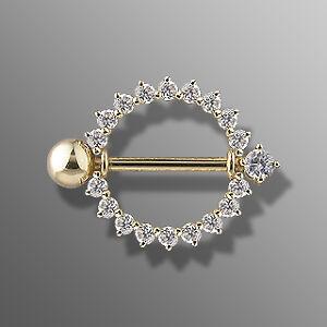 14k Solid Gold Gemmed Sunburst Nipple Shield Ring Bar