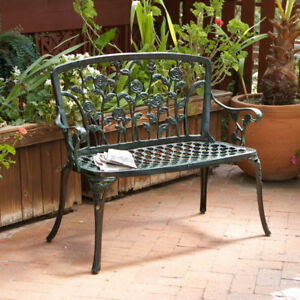 Outdoor Patio Furniture Antique Green Finish Floral Style