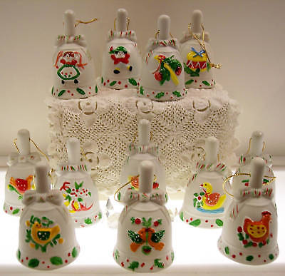 PORCELAIN BISQUE BELL ORN 12 days of Christmas 12PC LOT * FREE USA SHIPPING