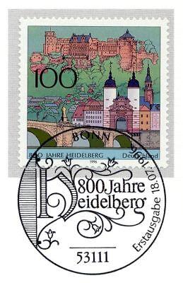 Brd 1996: Heidelberg 800 Jahre! Nr. 1868 Mit Bonner Ersttags-sonderstempel! 1a