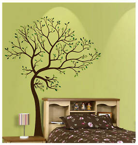 Big tree brown green wall decal deco art sticker mural ebay for Big tree with bird wall decal deco art sticker mural