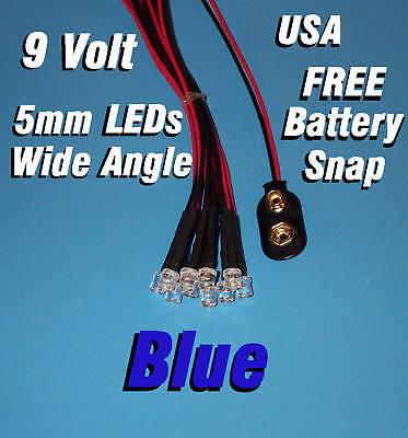 10 X Led - 5mm Pre Wired Leds 9 Volt Wide Blue 9v