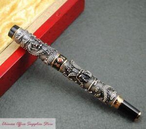 JINHAO-Black-Two-Chinese-Dragons-Fountain-Pen-M-Nib