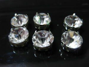 100-Silver-Clear-Crystal-Glass-Rhinestones-Rose-Montees-10mm-Sew-on-Beads