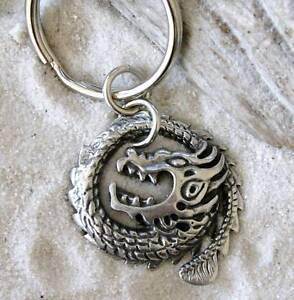 CHINESE-CIRCLE-DRAGON-SERPENT-Pewter-KEYCHAIN-Key-Ring