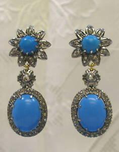 Persian-Turquoise-Diamond-Earrings-Georgian-Victorian